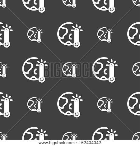 Global Warming, Ecological Problems And Solutions, Thermometer Icon Sign. Seamless Pattern On A Gray