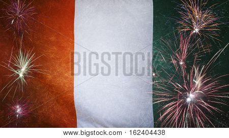 Ivory Coast Flag Firework Grunge Concept Real Fabric