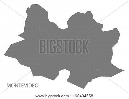 Montevideo Uruguay Map in grey department silhouette illustration
