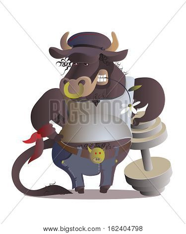 Zodiac sign cartoon vector illustration. taurus.Large Calf-athlete