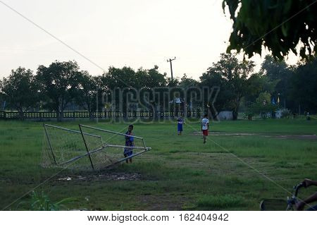 Thailand 16 Dec 2016; Rural Youths Playing Sports In The North-eastern Region Of Thailand,