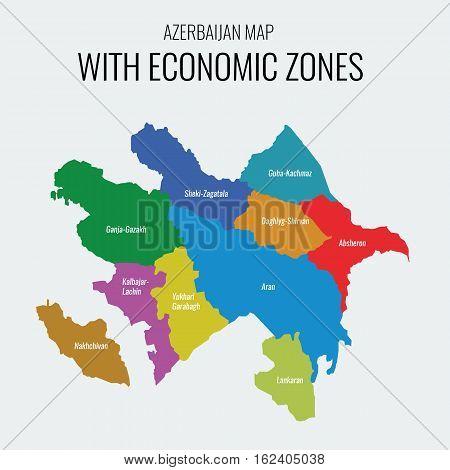 Azerbaijan vector map with economic zones. Each region separately grouped.