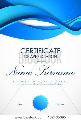 Certificate of appreciation template with blue dynamic material wavy background and seal. Vector illustration