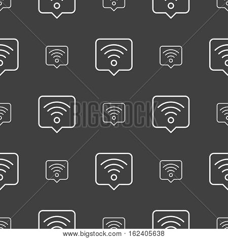 Podcast Icon Sign. Seamless Pattern On A Gray Background. Vector