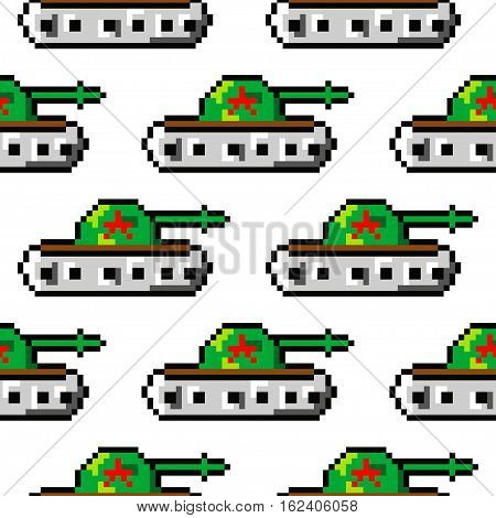 Pixel art vector objects to create Fashion seamless pattern. Background with tanks for boys. trendy 80s-90s pixel art style, computer game style