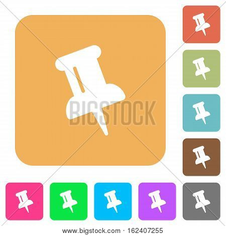 Push pin icons on rounded square vivid color backgrounds.