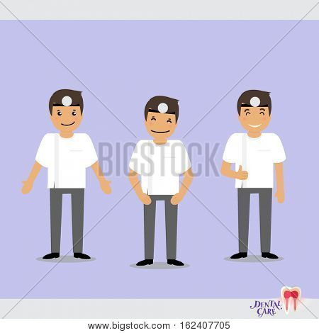 Set of characters Cartoon Dentist in various activities. Vector illustration.