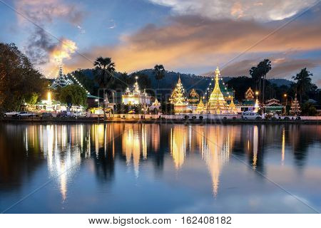 Wat Jongklang - Wat Jongkham the most favourite place for tourist in Mae hong son near Chiang mai Thailand with sunset sky