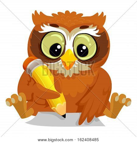 Vector Illustration of an Owl writing on a Blank Paper