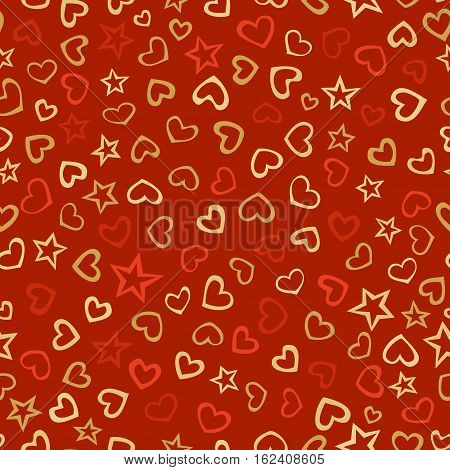 Vector seamless love pattern. Doodles various hearts and stars on red background. Hand-drawn boundless background.