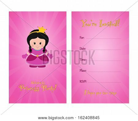 Invitation to children's party card invitation for princess party. Template of card invitation front and back page vector illustration.