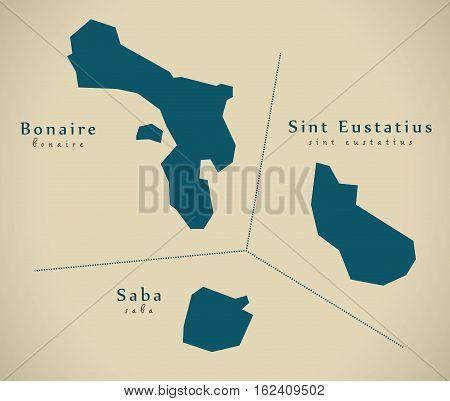 Modern Map - Overseas Provinces Nl Illustration