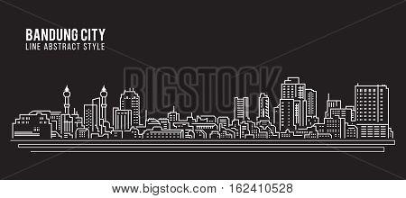 Cityscape Building Line art Vector Illustration design - Bandung city