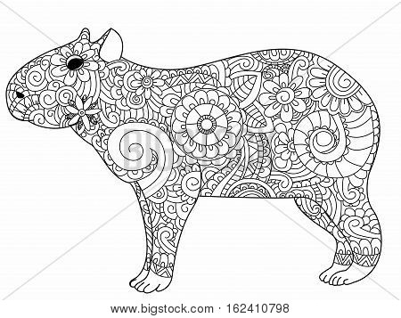 Capybara book for adults vector illustration. Anti-stress coloring for adult herbivorous mammal. Zentangle style. Black and white lines rodent. Lace pattern