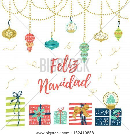 Feliz Navidad Hand Lettering Christmas And New Year Holiday Calligraphy On Spanish. Vector Winter Ho