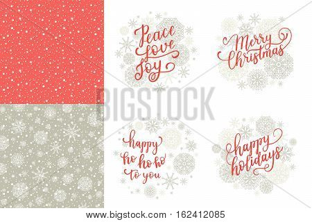 Merry Christmas, Happy Holidays, Happy Ho To You, Peace Love Joy Greeting Cards Set For New Year 201