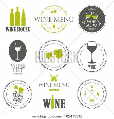Vector Illustration with wine list logo and labels. Simple symbols glass, bottle for restaurant or winery. Traditions of drink. Decorative elements your design. Black white style.
