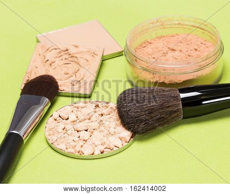 Basic makeup products to create beautiful skin tone and complexion with professional make up brushes