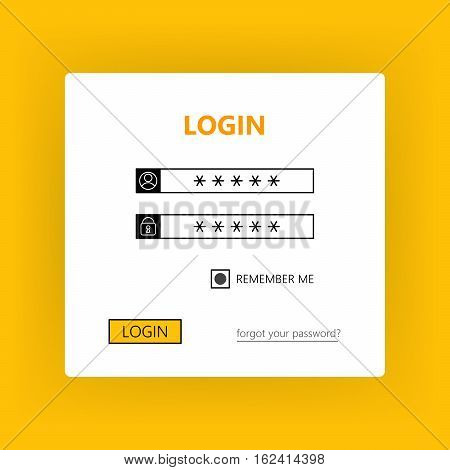 User login form - username password and login. Vector user interface light theme
