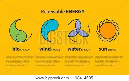 Ecological infographics with outline icons of sun, drop, wind power station and leaf as logo with copyspace on yellow background. Idea of eco-friendly source of energy. Renewable energy concept