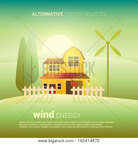 Wind alternative energy. Flat vector illustration. Idea of eco-friendly source of energy. Renewable energy concept