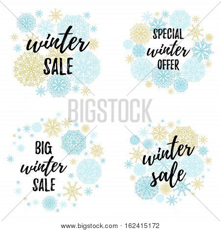 Christmas Sale, Big Winter Sale, Special Winter Offer Label, Banner, Sticker Set. Vector Winter Holi