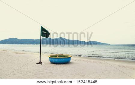 Safety flag in the My Khe beach Vietnam