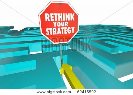Rethink Your Strategy New Plan Maze Sign 3d Illustration