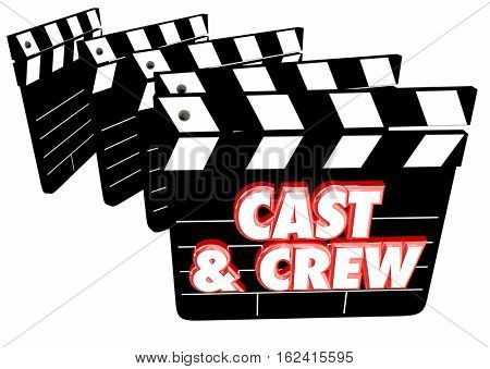 Cast and Crew Film Credits Movie Clapper Boards 3d Illustration
