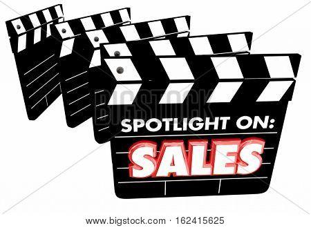 Spotlight on Sales Movie Clapper Boards Revenue 3d Illustration