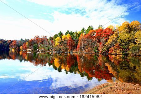 Autumn colors along shore of Lake Wissota, Wisconsin
