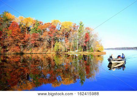 Autumn fishing along the shoreline of Lake Wissota, Wisconsin