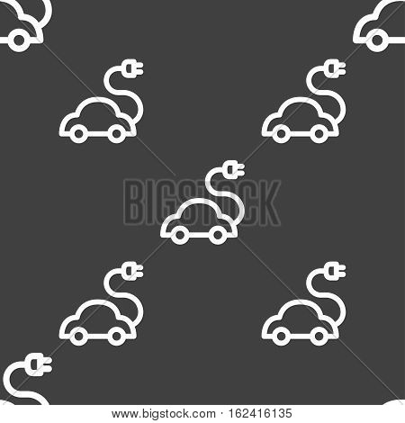 Electric Car Icon Sign. Seamless Pattern On A Gray Background. Vector