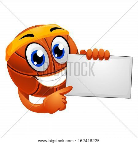Vector Illustration of Basketball Mascot holding a Blank Board