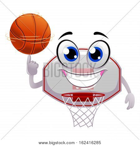 Vector Illustration of Basketball Ring spinning the Ball on top of finger