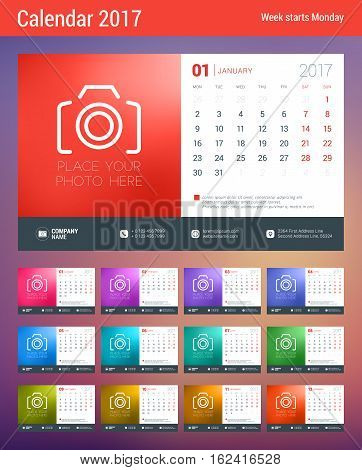 Desk Calendar Template for 2017 Year. Design Template with Place for Photo. Week starts Monday. Vector Illustration
