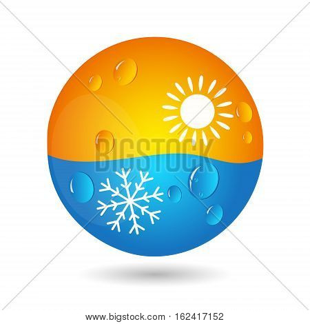 Air conditioning concept for business the sun and snowflake