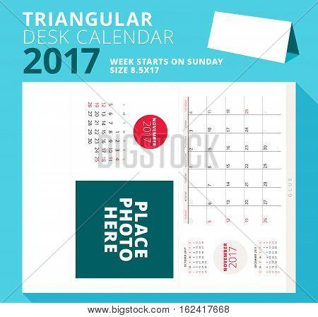 Triangular Desk Calendar Planner For 2017 Year. November 2017. Week Starts On Sunday. Printable Stat