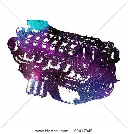 Watercolor internal combustion engine. Grunge textured. Colorful.