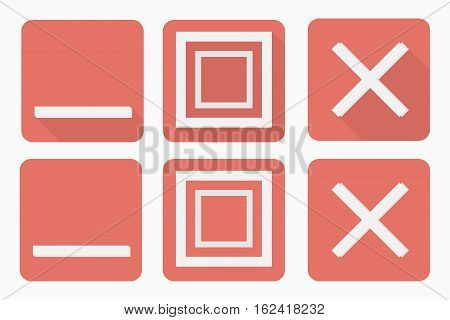 Web buttons set in flat style with and without shadow. Roll up expand close buttons for browser. You can simply change color and size. Vector illustration