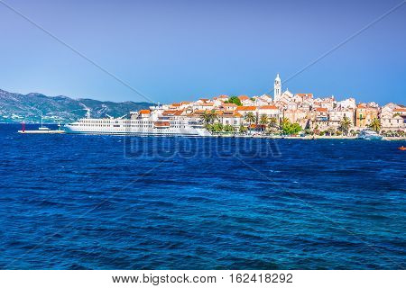 Waterfront view at picturesque mediterranean town Korcula, Island Korcula, Croatia.