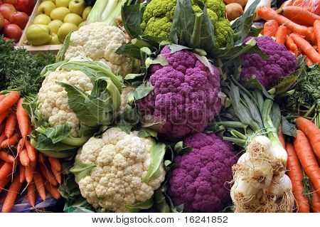 cabbage,cauliflower,onions,carrots,apples and broccoli
