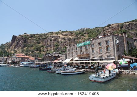 Canakkale, Turkey - July 9,2015 : Assos, also known as Behramkale or for short Behram, is a small historically rich town in the Ayvacik district of the Canakkale Province, Turkey.