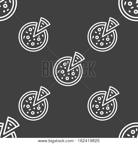 Pizza Icon Sign. Seamless Pattern On A Gray Background. Vector