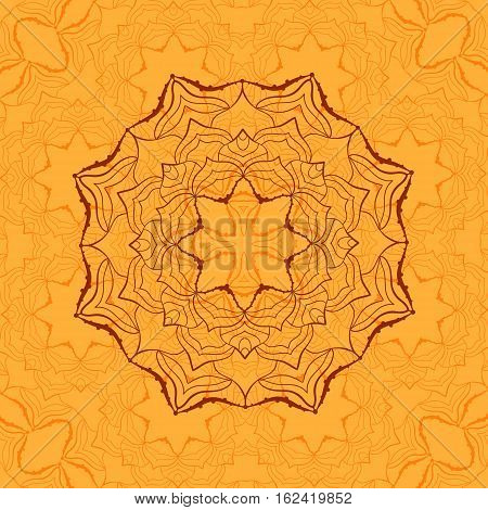 Outline Mandala for coloring book. Decorative round ornament for anti-stress therapy. Weave design element inspired by Indian Yoga, background for meditation poster. Unusual symmetry flower shape oriental outline vector.