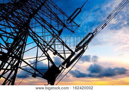High pressure post high pressure tower sky background.