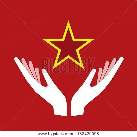 Isolated Hands Offering  The Red Star Of Communism Icon