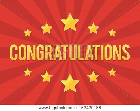 Congratulations Banner with gold stars on red background. Vector illustration for web design banner, poster or print card