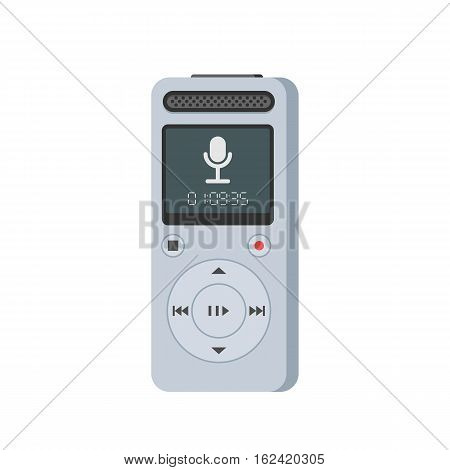 Dictaphone, voice recorder icon. Journalist electronic equipment. Vector illustration in trendy flat style, isolated on white background