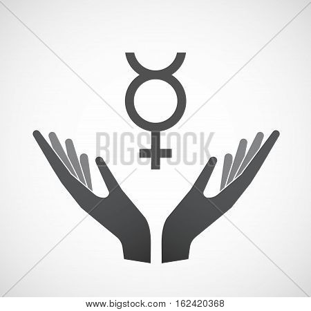 Isolated Hands Offering  The Mercury Planet Symbol